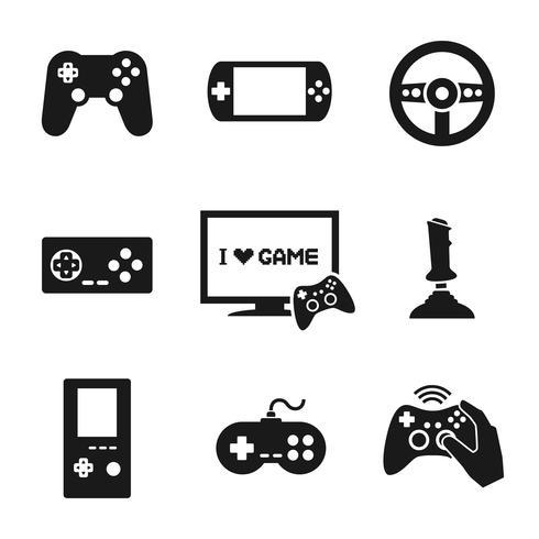 Conjunto de ícones de controlador de jogos de vídeo vetor