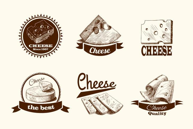 Rótulos de esboço de queijo vetor