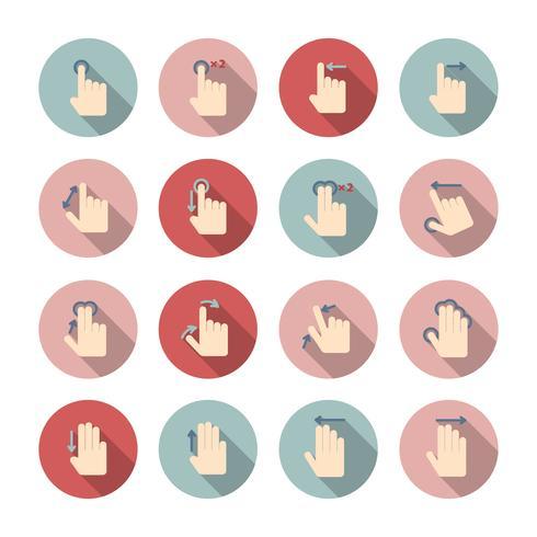 Conjunto de ícones de gestos de toque de mão vetor