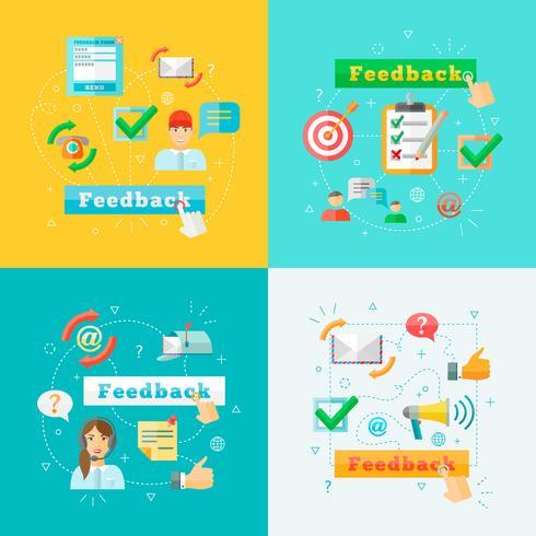 Conjunto de elementos de infográfico de web de feedback vetor