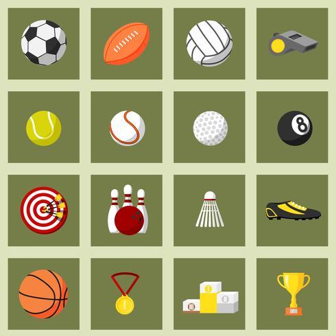Conjunto de ícones plana de esportes vetor