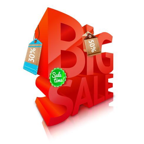 Emblema de texto grande venda vetor