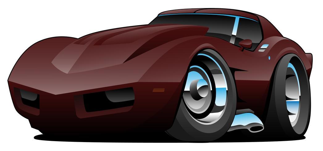 Desenhos animados americanos clássicos do carro de esportes dos anos setenta vetor