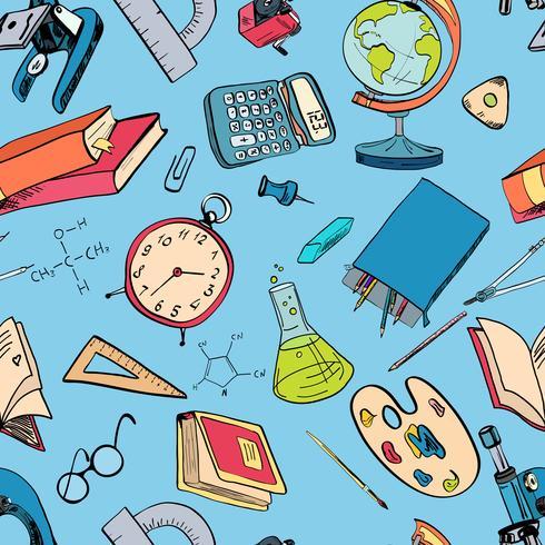 Ícone de educação doodle cor sem emenda vetor