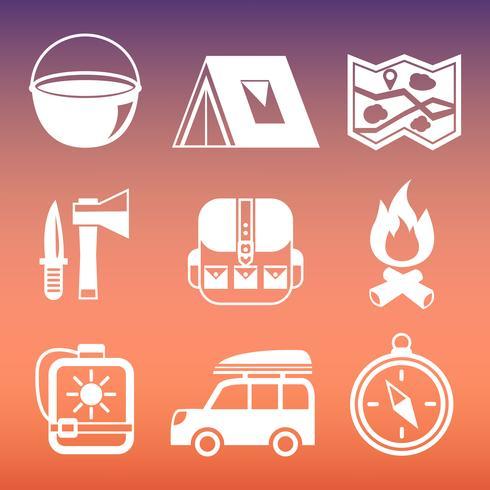 Coleção de pictogramas de acampamento ao ar livre vetor