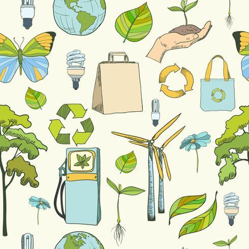 Ecologia sem costura e padrão de ambiente vetor