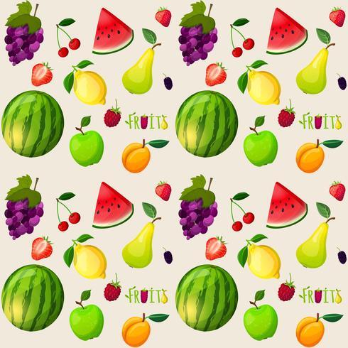 Padrão sem emenda de frutas frescas vetor
