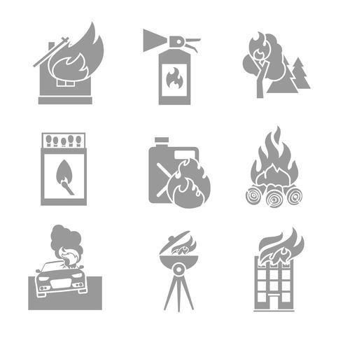 Ícones de proteção contra incêndios vetor