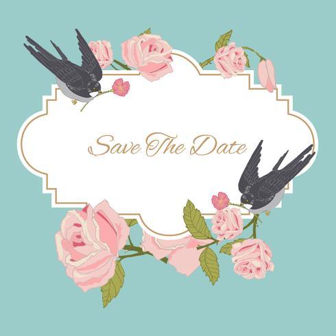 Fundo de flores vintage com pássaros vetor