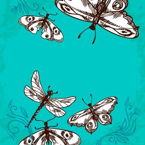 Fundo de borboletas e libélulas vetor