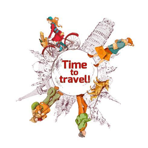 Cartaz colorido desenho de tempo de viagem vetor