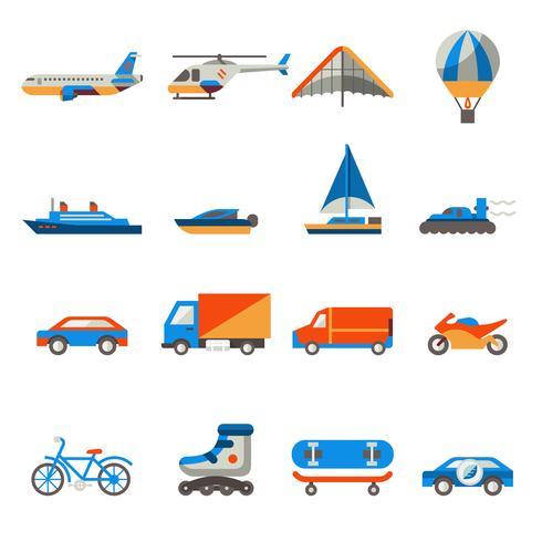 Transporte, ícones, jogo vetor