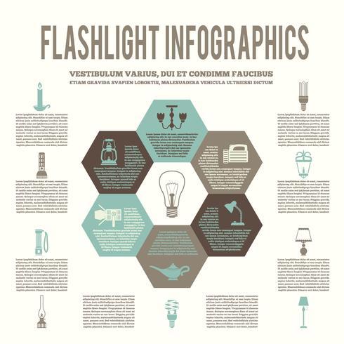 Infográfico plano de lanterna e lâmpadas vetor