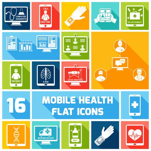 Ícones de saúde móvel conjunto planas vetor