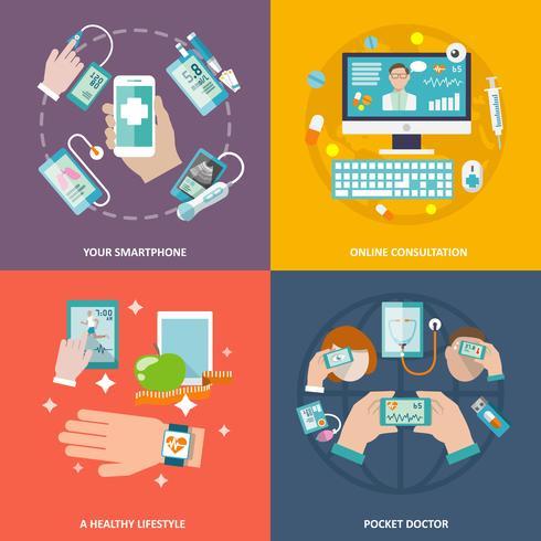Ícones de saúde digital definida plana vetor