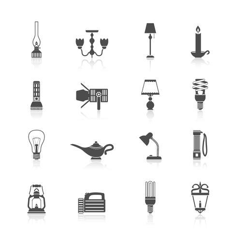 Lanterna e lâmpadas ícones conjunto preto vetor