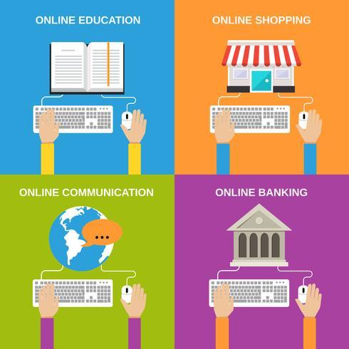 Conceitos de serviço online vetor