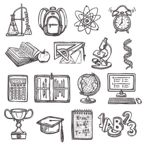 Ícones de esboço de educação escolar vetor