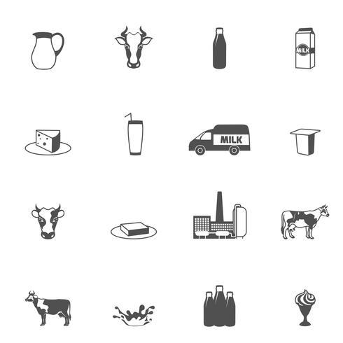 Conjunto de ícones de leite preto vetor