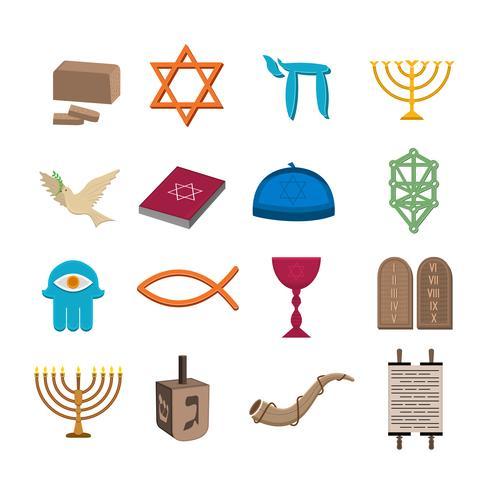 Conjunto de ícones do judaísmo vetor
