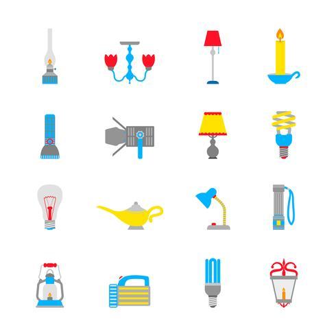 Lanterna e lâmpadas ícones vetor