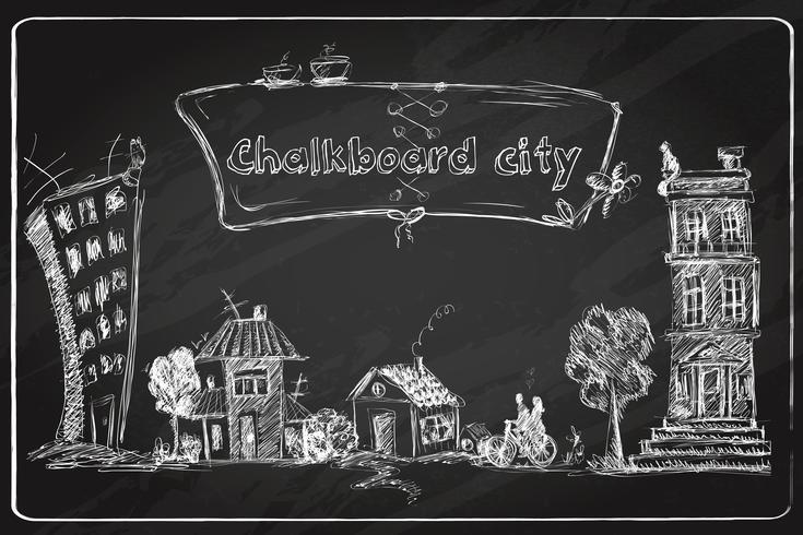 Doodle de cidade de lousa vetor
