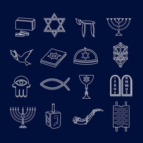 Conjunto de ícones do judaísmo esboço vetor