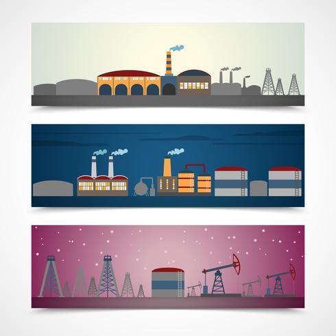 Conjunto de bandeiras de cidade industrial vetor