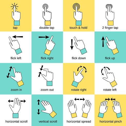 Linha plana de gestos de interface de toque vetor