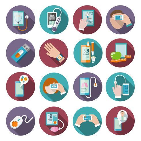 Conjunto de ícones de saúde digital vetor