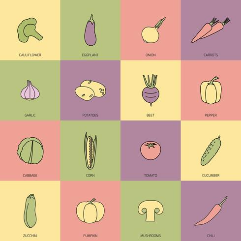 Conjunto de linha plana de ícones de legumes vetor