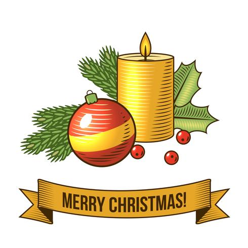 Ícone de vela de Natal vetor