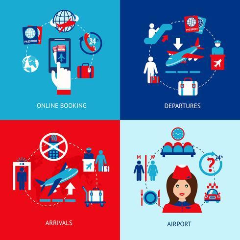 Conjunto de ícones do aeroporto plana vetor