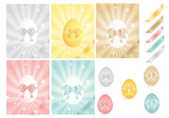Pacote de vetores de ovos de páscoa e fitas