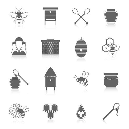 Conjunto de ícones de mel de abelha preto vetor