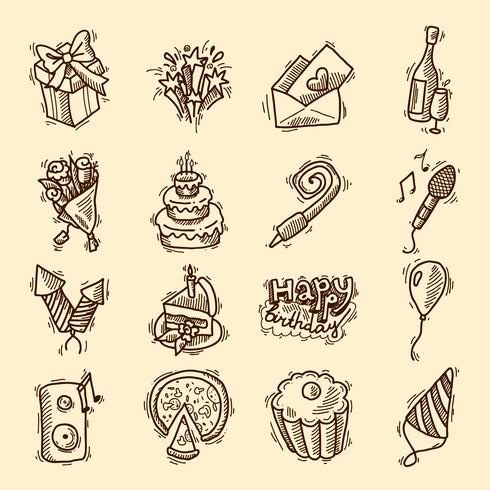 Conjunto de ícones de esboço de aniversário vetor