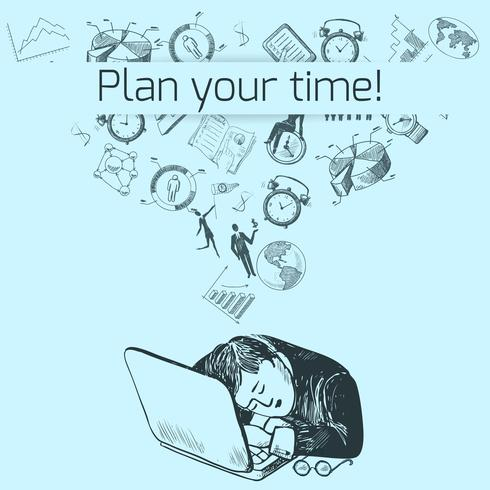Esboço de cartaz de gerenciamento de tempo vetor