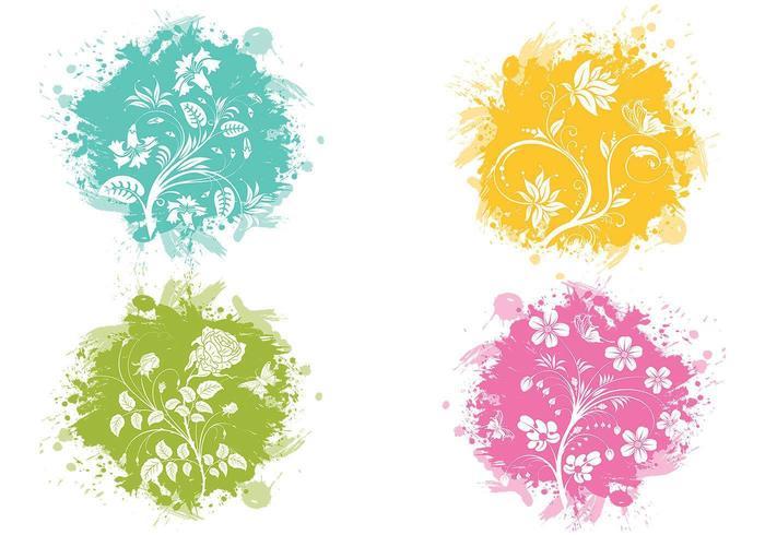 Pacote de vetores de flores splatter