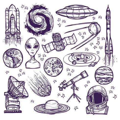 Conjunto de desenho de espaço vetor