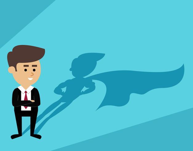 Homem negócios, sombra superman vetor