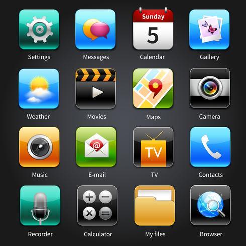 Ícones de aplicativos móveis vetor