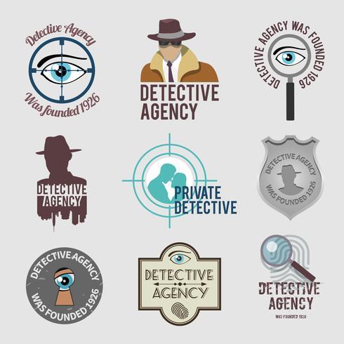 Conjunto de etiquetas de detetive vetor