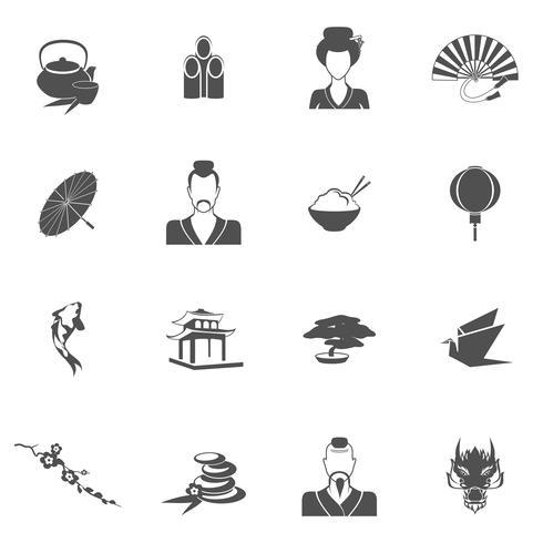 Japão ícones pretos vetor