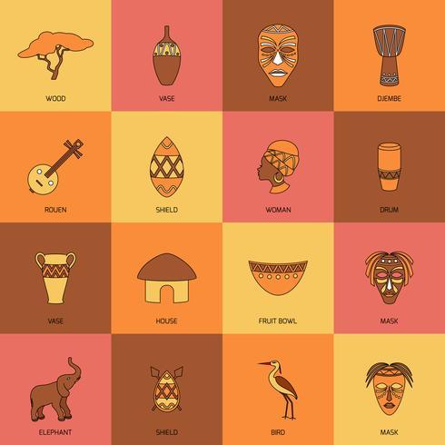 Linha de ícones de África plana vetor
