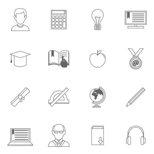 Ícones de contorno de educação vetor