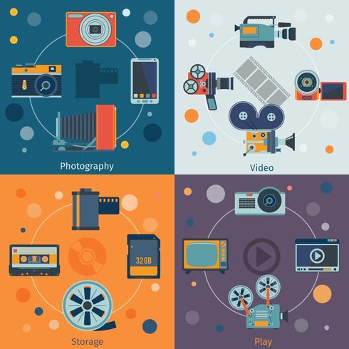 Ícones de vídeo foto planas vetor