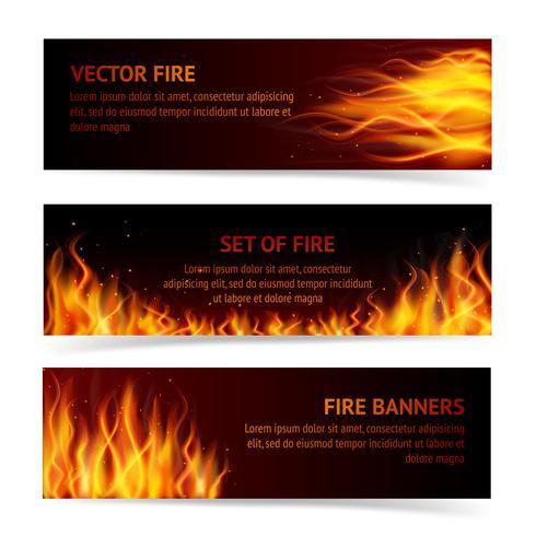 Conjunto de banner de chamas vetor