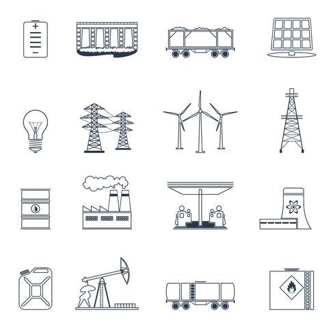 Conjunto de contorno de ícones de energia vetor