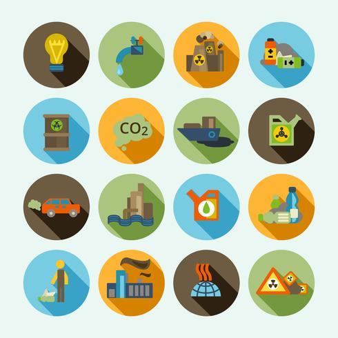 Conjunto de ícones de poluição vetor