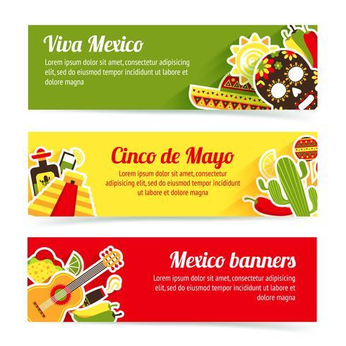 Conjunto de bandeira do México vetor